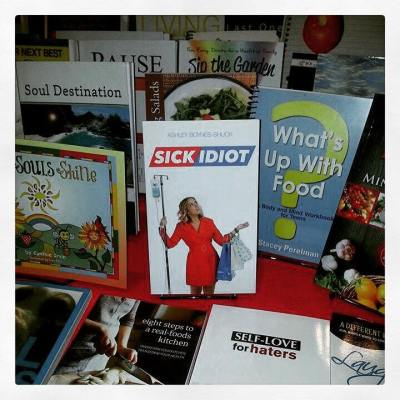 My book Sick Idiot on display at the Institute for Integrative Nutrition Conference at Lincoln Center in NYC, 2015.