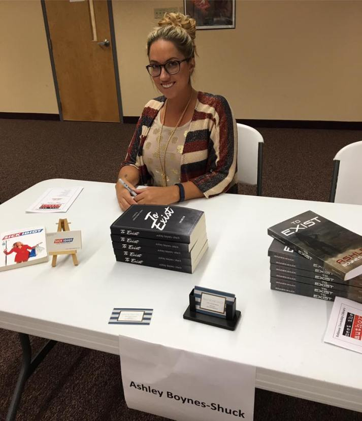 """At a """"Meet the Author"""" event at Robinson Library"""